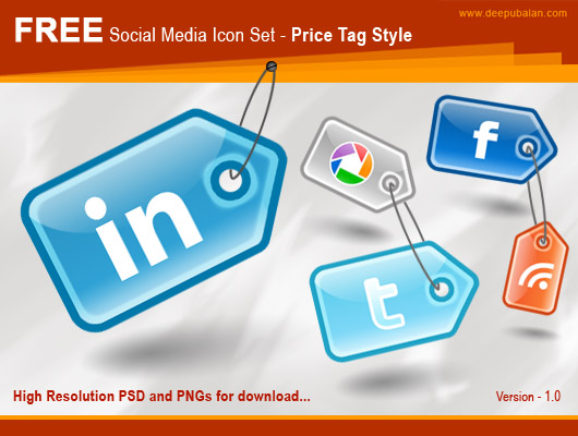 Free High Resolution social media icon set - Price tag style