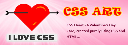 CSS art - Valentine's day card created purely using css and html - download free