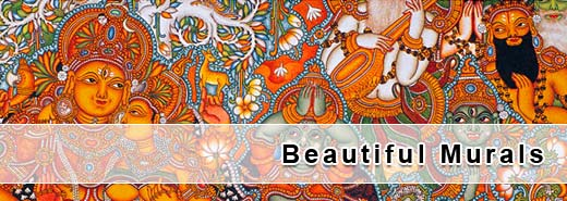 collection of beautiful mural drawings / paintings / art works from kerala india