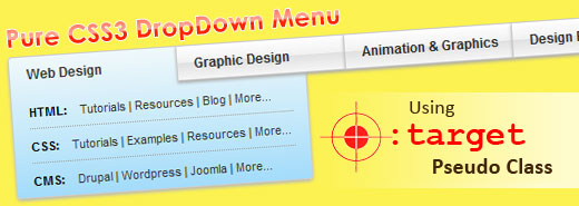 Pure CSS3 DropDown Menu Using :target Pseudo Class - Free