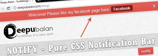 Notify: Pure CSS notification bar using :target pseudo class