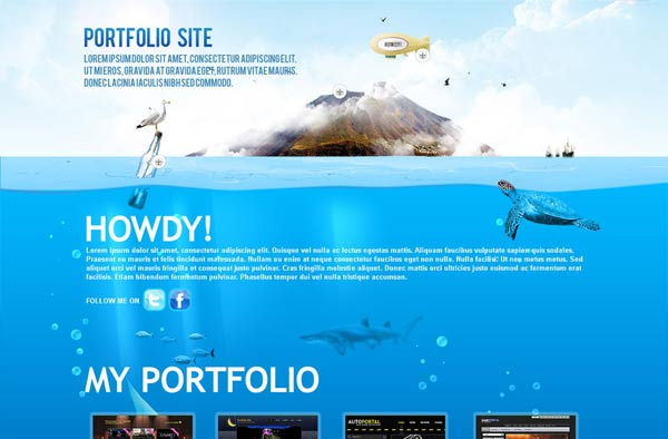 Beautiful portfolio website template in underwater theme. best suited for personal portfolio websites.