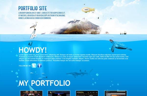 Beautiful portfolio website template in underwater theme. best suited for personal portfolio websites.