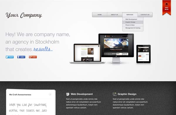 Premium quality PSD website template for free. Simple yet beautiful layout using cool colors.
