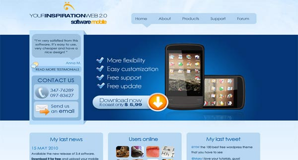Free web 2.0 layout for a website specialized in mobile applications and software.