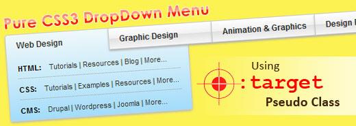 Pure CSS DropDown Menu using :target pseudo class