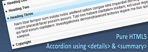Pure CSS – HTML accordion using Details & Summary elements